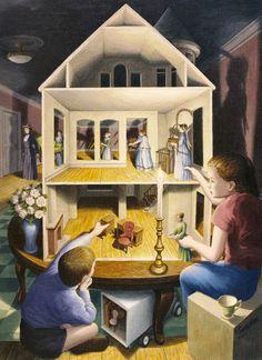 Gonsalves - Dolls Dreamhouse Optical Illusion Paintings, Amazing Optical Illusions, Illusion Kunst, Illusion Art, Canadian Painters, Canadian Artists, Robert Gonsalves, Psy Art, Rene Magritte