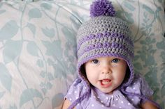 """Sunday, December 18, 2011Free Pattern: Earflap Hat - 9-12 Months       Toddler size here.   6-month size here.   3-month size here.  Newborn size is here.  Premie size is here.    This is a 9-12 month size.  It should fit an approx 19"""" head circumference.  Sweet little #2 is 1 year old, with a 18.5"""" head circumference.    Supplies:  5mm hook  Worsted weight yarn (I used acrylic)    Abbreviations:  Ch – chain  Dc – double crochet  Sc – single crochet  Sc dec – single crochet decrease…"""