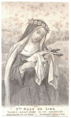 RARE St. Rose of Lima Engraving Antique French by 12StarsVintage