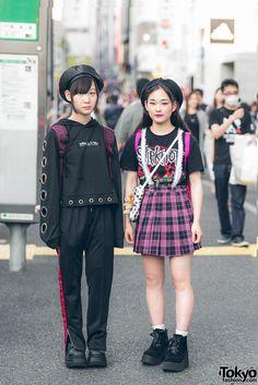 Harajuku Girls Street Styles w/ Slipknot, Never Mind the XU, Bubbles, Peco Club & Demonia (Tokyo Fashion News) Japan Street Fashion, Tokyo Street Style, Tokyo Fashion, Harajuku Fashion, Streetwear Mode, Streetwear Fashion, Punk Outfits, Grunge Outfits, Korean Outfits