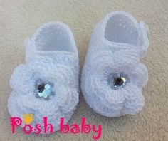 Crocheted cotton shoes with diamonds baptism
