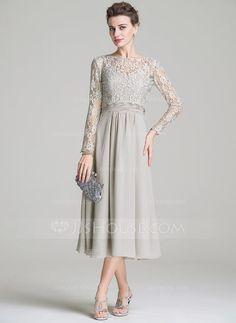A-Line/Princess Sweetheart Tea-Length Chiffon Mother of the Bride Dress With Ruffle (008072687) - JJsHouse