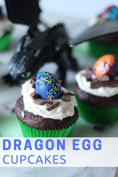 Every movie night needs snacks! Get the kids involved and make these super simple Dragon Egg Cupcakes! Snag everything you need at Walmart - some toys, shirts, and the How to Train Your Dragon 3 Walmart Exclusive DVD Gift Set! Dragon Birthday Cakes, Dragon Birthday Parties, 3rd Birthday Cakes, Dragon Party, Dragon Cupcakes, Egg Cupcakes, Viking Party, Just Bake, Dragon Egg