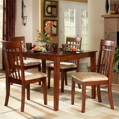 @Overstock - Update your dining room with this tan microfiber five-piece dining set. This set includes a table and four chairs. With its solid Asian wood frame and soft upholstery, this dining set will give your home a comfortable and stylish place to share a meal.http://www.overstock.com/Home-Garden/Daphne-5-piece-Cherry-Dining-Set/5971203/product.html?CID=214117 $498.99