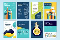 Set Of Brochure Design Templates On The Subject Of Education,. with School Brochure Design Templates - Great Professional Templates Brochure Cover Design, Free Brochure, Travel Brochure Template, Business Plan Template, Brochure Ideas, Online Brochure Design, Brochure Design Samples, Brochure Printing, Poster Sport