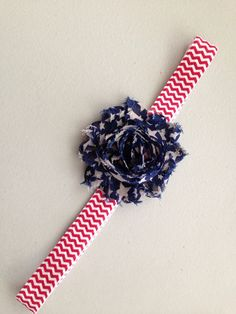 Red white blue american fourth of July chevron striped baby girl hair headband