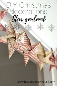 DIY Origami Star Garland Christmas crafts - Girl about townhouse diy christmas gifts, perfect christmas gifts, amazing christmas gifts Origami Star Garland Christmas crafts - Girl about townhouse Diy Christmas Star, Diy Christmas Garland, Star Garland, Homemade Christmas, Garland Ideas, Diy Garland, Ornaments Ideas, Christmas 2019, Christmas Lights