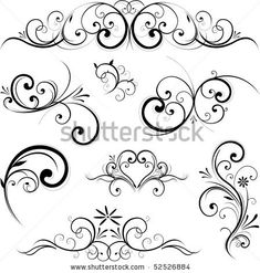 scroll with flowers tattoos | Swirling Flourishes Decorative Floral Elements Stock Vector 52526884 ...