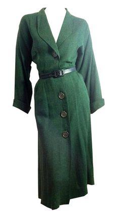 a Pine Green Lightweight Wool Big Button Dress circa 1940s - Dorothea's Closet Vintage