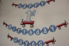 Red Wagon Birthday Cake | Little Red Wagon Happy Birthday Banner by TamaraMarieOriginals