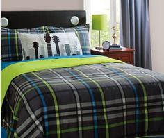 """Gray, Blue & Green Guitar Rockstar Full Comforter Set (4 Piece Bedding) by Morgan Teen. $64.88. The Set includes: 1- Full / Queen Size 86x86"""" Comforter, 1- Guitar Pillowcase & 2- Plaid Pillow Shams.. It's all about options and extras with this reversible comforter & sham set with statement pillowcase. This set lets you change it up every time you change you mood or make your bed. Just flip comforter and sham to go from bold prints to solids. Statement pillowcase adds ano..."""
