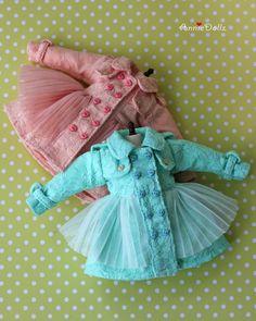 Anniedollz Handmade Blythe Outfits Lace Coat Peach por anniedollz