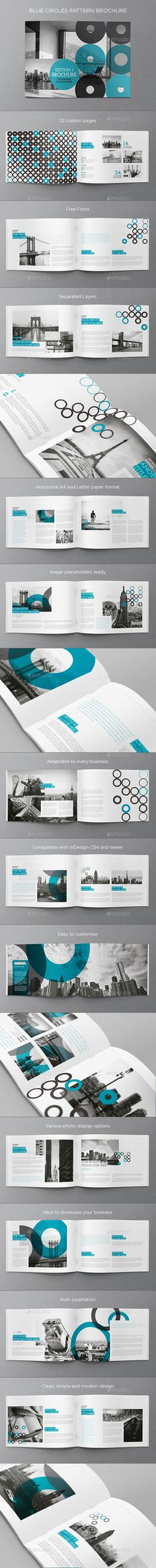 Blue Circles Pattern Brochure