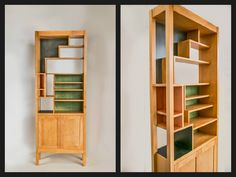 Shelving and cabinet made with stained and painted Maple! #Woodworking #Maple #design #colors