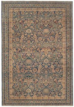 LAVER KIRMAN - Southeast Persian, 7ft 1in x 10ft 8in, Late 19th Century. Offering a one-of-a-kind design and sublime palette of color, this exquisite, highly decorative antique Persian Laver Kirman carpet is the ideal complement to a sophisticated home décor.