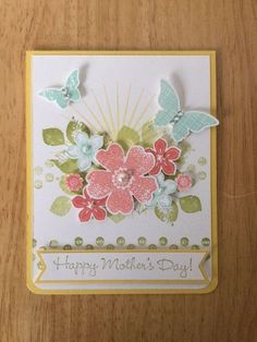 Mother's Day card kit - Sunny spring flowers butterflies -md w/ Stampin Up produ