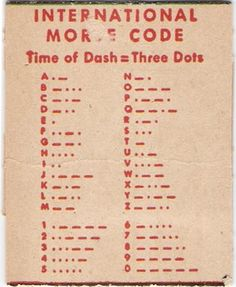 Morse Code Signals  U NEVER KNOW.... I HAVE ALWAYS WANTED TO LEARN THIS, AS IT IS UNIVERSALLY UNDERSTOOD! THIS AND SIGN LANGUAGE, ONLY GLOBAL LANGUAGE WE SPEAK, ..OTHER THAN LOVE!