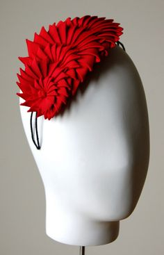 Origami ribbon headband (bright red)   Esther Louise Millinery