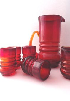 Zbigniew Horbowy 1980s art glass red by CzechGlassCollector, zł400.00