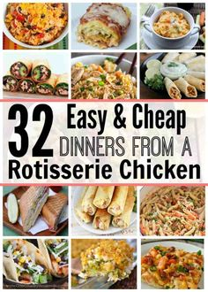 32 Easy & Cheap Dinners From a Rotisserie Chicken - Whole Food Main Meals - Chicken Recipes Leftover Chicken Recipes, Shredded Chicken Recipes, Healthy Chicken Recipes, Whole Food Recipes, Cooking Recipes, Meals With Rotisserie Chicken, Leftover Roast Chicken, Turkey Recipes, Easy Cooking