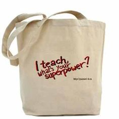 """Teacher Superpower Tote Bag. Our 100% cotton canvas tote bags have plenty of room to carry everything you need when you are on the go. They include a bottom gusset and extra long handles for easy carrying.  •10 oz heavyweight natural canvas fabric  •Full side and bottom gusset  •22"""" reinforced self-fabric handles  •Machine washable  •Measures 15"""" x 18"""" x 6"""""""