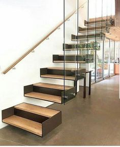 DIY Staircase Design Ideas - - 4 Times The Stair Decoration Would Make You Feel Amazed - Trend Crafts. Glass Stairs, Metal Stairs, Concrete Stairs, Modern Stairs, Glass Railing, Cantilever Stairs, Staircase Handrail, Stair Railing, Spiral Staircase
