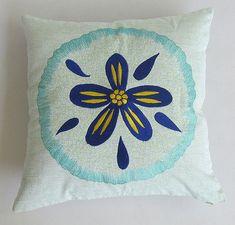 aqua blue and cobalt blue sand dollar on light green pillow 18 inch - custom made on Etsy, $34.50