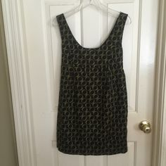 Forever 21 dress mini Black with olive green designs. Zips in the back. Short dress or long shirt type. Looks cute with leggings! New condition! Forever 21 Dresses Mini