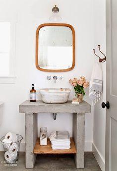 Southern Home Interior DIY Concrete Vanity.Southern Home Interior DIY Concrete Vanity Bad Inspiration, Bathroom Inspiration, Interior Inspiration, Interior Ideas, Home Interior, Bathroom Interior, Interior Design, Industrial Bathroom, Bohemian Bathroom