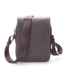 Luxusní pánská kožená kabelka přes rameno hnědá - Hexagona Filippo e7ecca4a7df