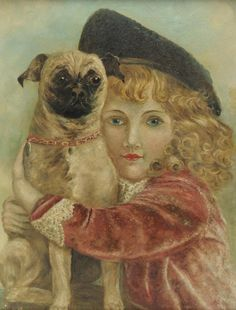 Folk art painting of girl with dog
