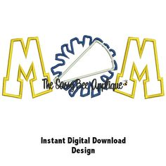 DD CHEER MOM Applique - Machine Embroidery Design - 9x7 and 10x6 Hoop - Instant Download