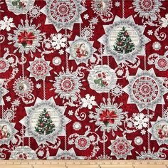 Holiday Shimmer Metallic Ornaments Red/Silver from @fabricdotcom  From Hoffman California International Fabrics, this cotton print fabric is perfect for quilting, apparel and home decor accents. Colors include shades of red, green, grey, white, ivory and black. Features silver metallic accents throughout.