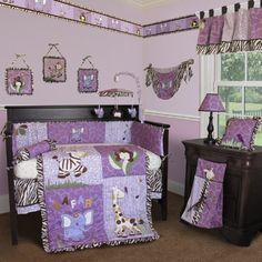 $149.99-$289.99 Baby Custom Baby Girl Boutique - Safari 15 PCS Crib Bedding - Safari Baby Crib Bedding Set by Sisi Baby Designs brings adorable safari animals into your baby's nursery room. The Giraffe, Zebras, Monkey and Elephant create a sweet nursery atmosphere for your little one. The contemporary brown zebra and purple giraffe fabric bring a graphic and stylish. The whole set comes with 15 ...