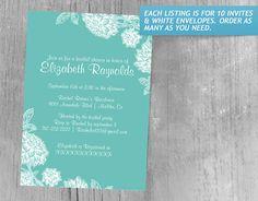 Elegant Aqua Bridal Shower Invitations