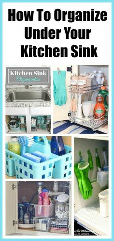 How To Organize Under The Kitchen Sink - fabulous ideas for tackling that hard to organize space! Kitchen organization, how to organize kitchen cabinets, under the sink, dollar store organizing ideas…More Organisation Hacks, Organizing Hacks, Organizing Your Home, Diy Organization, Organizing Ideas For Kitchen, Dollar Store Organization, Kitchen Cabinet Organization, Kitchen Storage, Space Kitchen