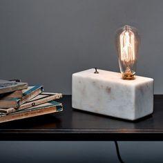 Alvin Rectangular Marble Lamp Base - Table Lamps - Lighting - Lighting & Mirrors