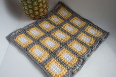 "Squares Squared 12"" Block, free crochet pattern by Tamara Kelly."