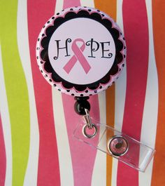 For mom-Breast Cancer Awareness Pink Ribbon Badge Holder by DreaminCrystal, $6.50