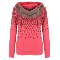 Finejo Red Korean Women Fashion Lady Loose Casual Leisure Pullover Print Sweatershirt Hoodies