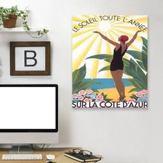 """East Urban Home 'Travel Poster for Cote D Azur' Graphic Art Print Format: Canvas, Size: 30"""" H x 24"""" W"""