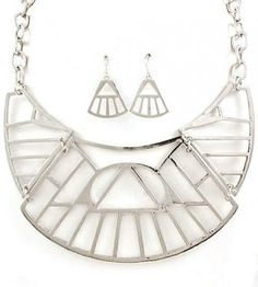 Egyptian Queen Abstract Tribal Bib Necklace Openwork Collar Choker Silver Chain Celebrity Statement