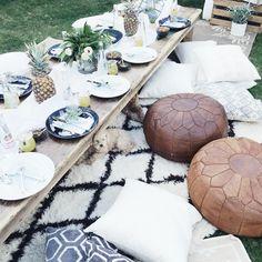 Modern bohemian backyard party for Champagne + Macaroons
