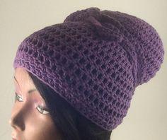Crochet Head Wrap - Crochet Head Scarf - Crochet Dread Cap - Purple Head Wrap - Purple Head Scarf - All Seaon by CreationsbyLaya on Etsy