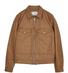 Ami Zipped Twin Pocket Jacket in Camel. Made from a dense brushed wool blend, this Ami jacket takes influence from traditional denim trucker jackets. The oversized patch pockets have hand pockets in each side. There are adjuster tabs and a natural leather Natural Leather, Wool Blend, Military Jacket, Twins, Rain Jacket, Windbreaker, Raincoat, Zip, Denim