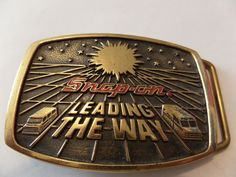 VINTAGE SNAP-ON LEADING THE WAY BELT BUCKLE BRASS BY BTS LIMITED EDITION #BTS