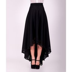 ZEAN Black Lace-Trim Hi-Low Maxi Skirt ($60) ❤ liked on Polyvore featuring skirts, cut out skirt, long print skirt, print maxi skirt, hi low skirt and hi lo maxi skirt