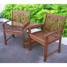 International Caravan Conversation Double-chair and Table | Overstock™ Shopping - Great Deals on Outdoor Benches