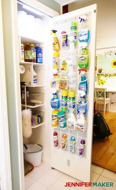 Organize your cleaning closet to find what you need faster AND fit in all the necessities! This project utilizes all the space in a small closet by using shelves and storage on the back of the door. Broom Closet Organizer, Coat Closet Organization, Door Organizer, Closet Storage, Diy Organization, Clothing Organization, Storage Room, Organizing Ideas, Cleaning Closet