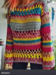 #fashion #crocheted  #knitted  #sweater #fashionwinter #handmade Crochet Jumper, Crochet Jacket, Crochet Cardigan, Knit Crochet, Easy Crochet Patterns, Crochet Stitches, Hippie Crochet, Crochet Woman, Beautiful Crochet